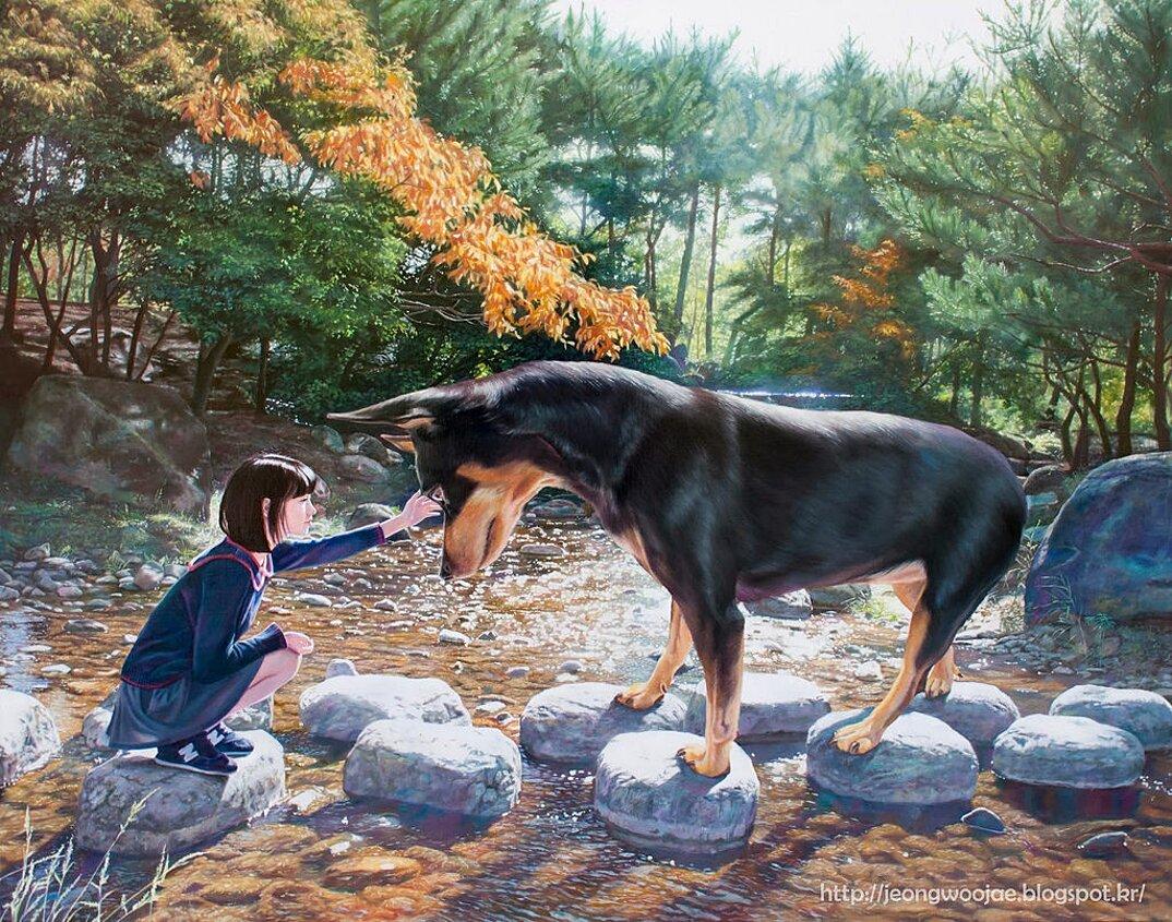 dipinti-iperrealisti-ragazza-cane-gigante-arte-jeong-woojae-10