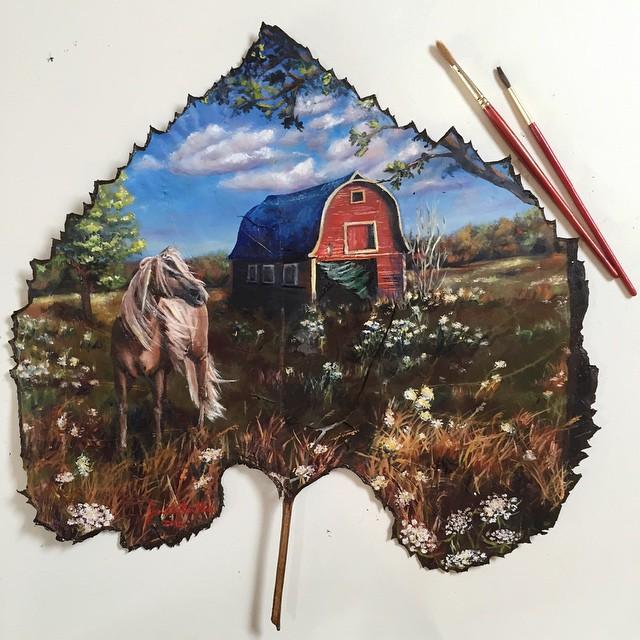 dipinti-su-foglie-spartiti-musicali-natura-janette-rose-2