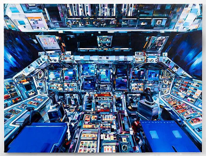 dipinti-uomo-nello-spazio-macchina-umani-arte-michael-kagen-3
