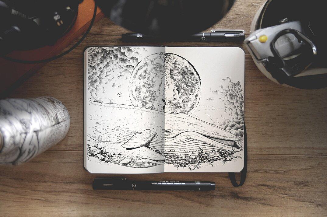 disegni-inchiostro-nero-animali-ibridi-surreali-arte-joseph-catimbang-1
