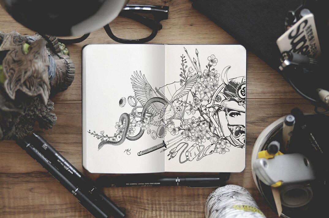 disegni-inchiostro-nero-animali-ibridi-surreali-arte-joseph-catimbang-2