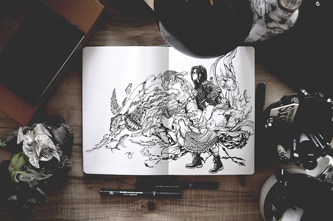 disegni-inchiostro-nero-animali-ibridi-surreali-arte-joseph-catimbang-3