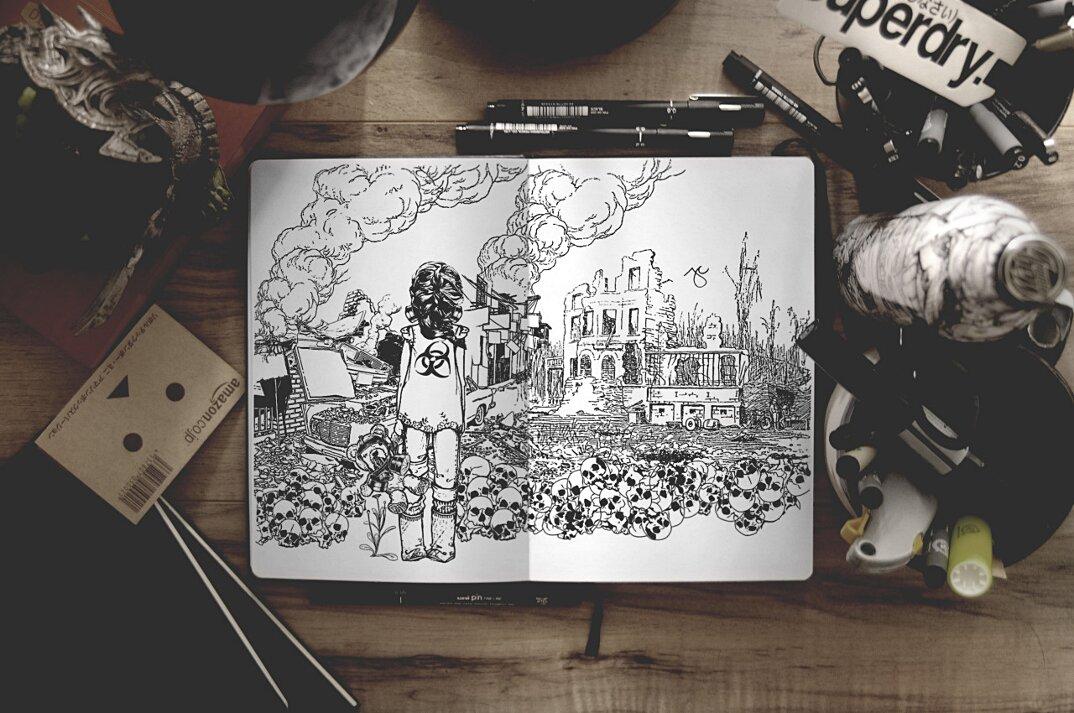 disegni-inchiostro-nero-animali-ibridi-surreali-arte-joseph-catimbang-4