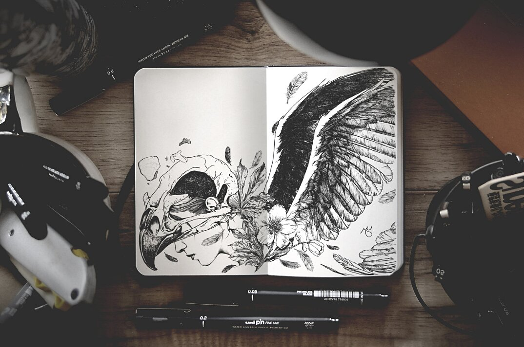 disegni-inchiostro-nero-animali-ibridi-surreali-arte-joseph-catimbang-5