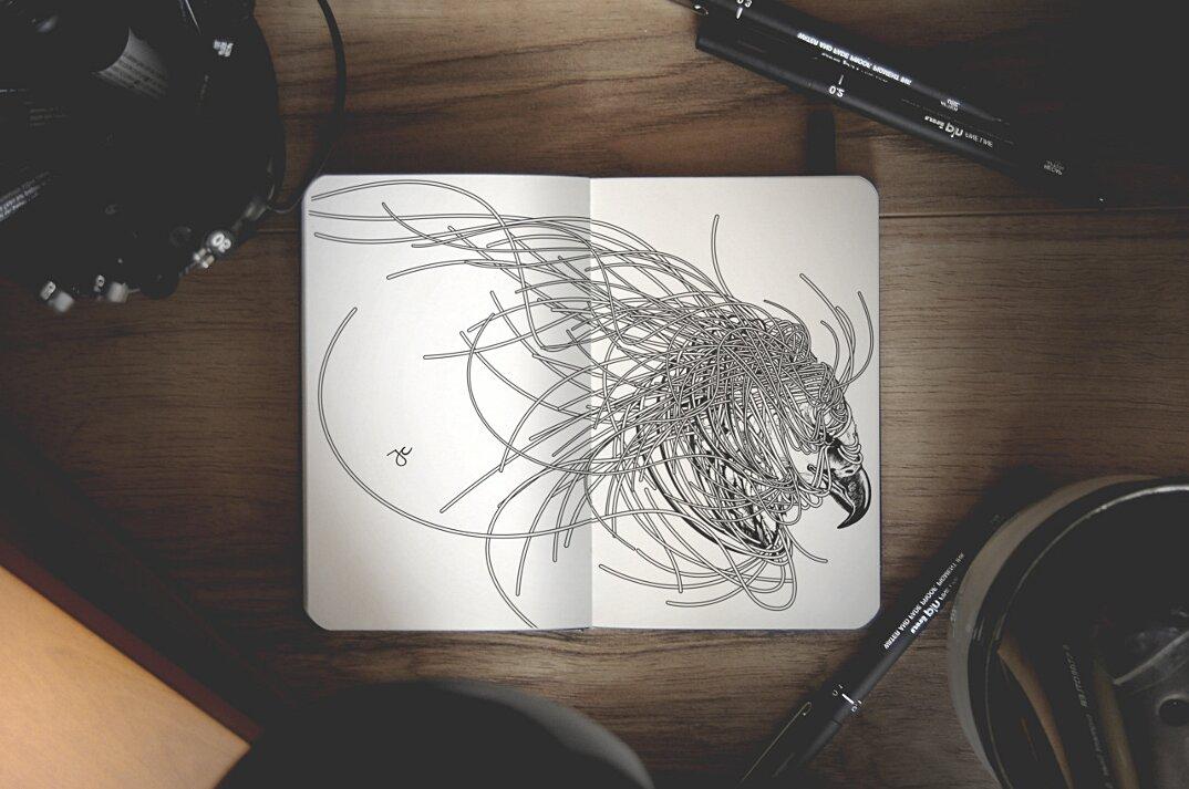 disegni-inchiostro-nero-animali-ibridi-surreali-arte-joseph-catimbang-6