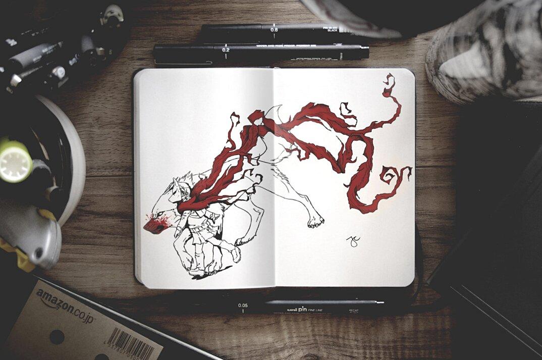 disegni-inchiostro-nero-animali-ibridi-surreali-arte-joseph-catimbang-7