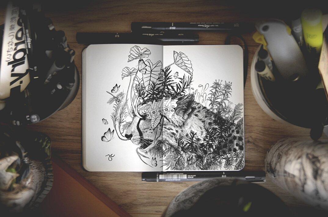 disegni-inchiostro-nero-animali-ibridi-surreali-arte-joseph-catimbang-8