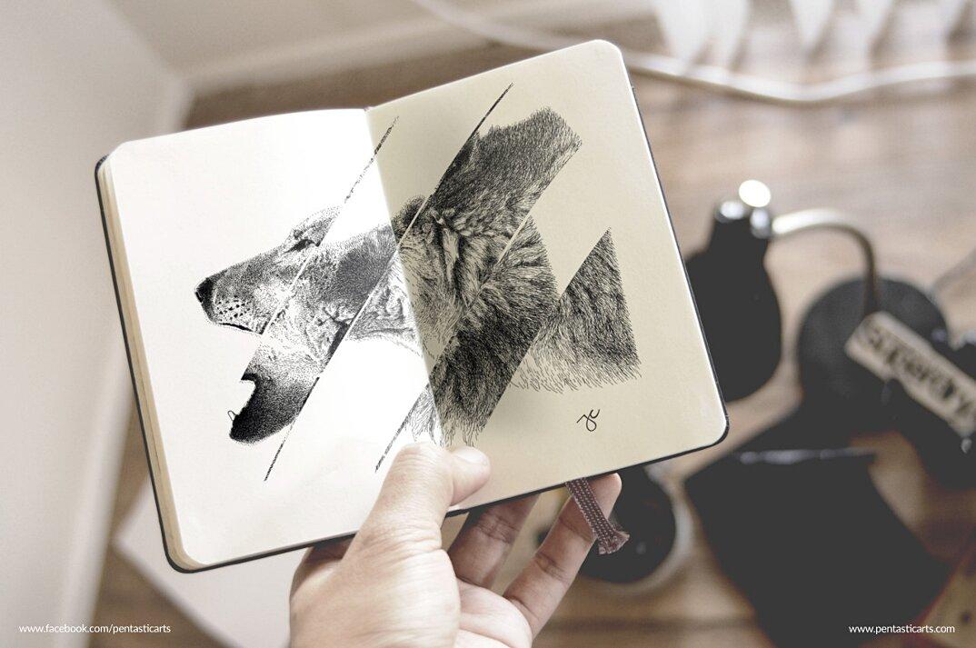 disegni-inchiostro-nero-animali-ibridi-surreali-arte-joseph-catimbang-9