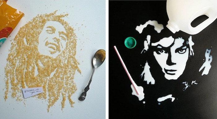 Ritratti commestibili di icone della cultura pop creati con cibi e alimenti