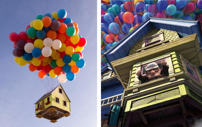 La vera casa di up della pixar che vola con palloncini
