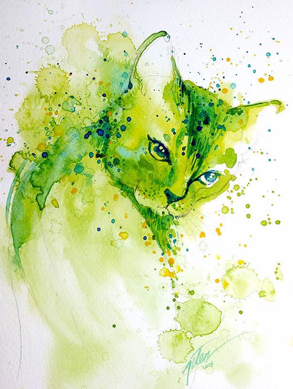 Automazioni came con anima green : Spruzzi di acquerelli creano i dipinti animali tilen