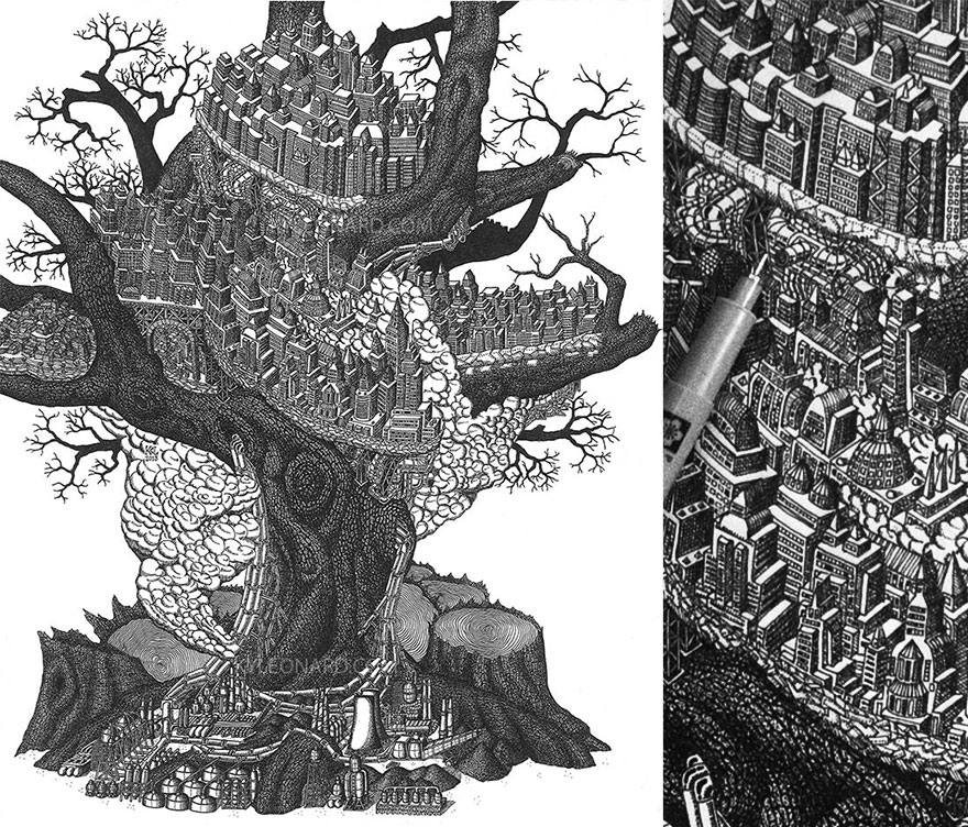 disegno-puntinismo-surreale-puntini-arte-kyle-leonard-03