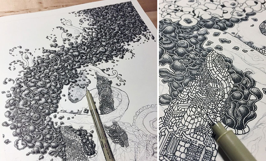 disegno-puntinismo-surreale-puntini-arte-kyle-leonard-04