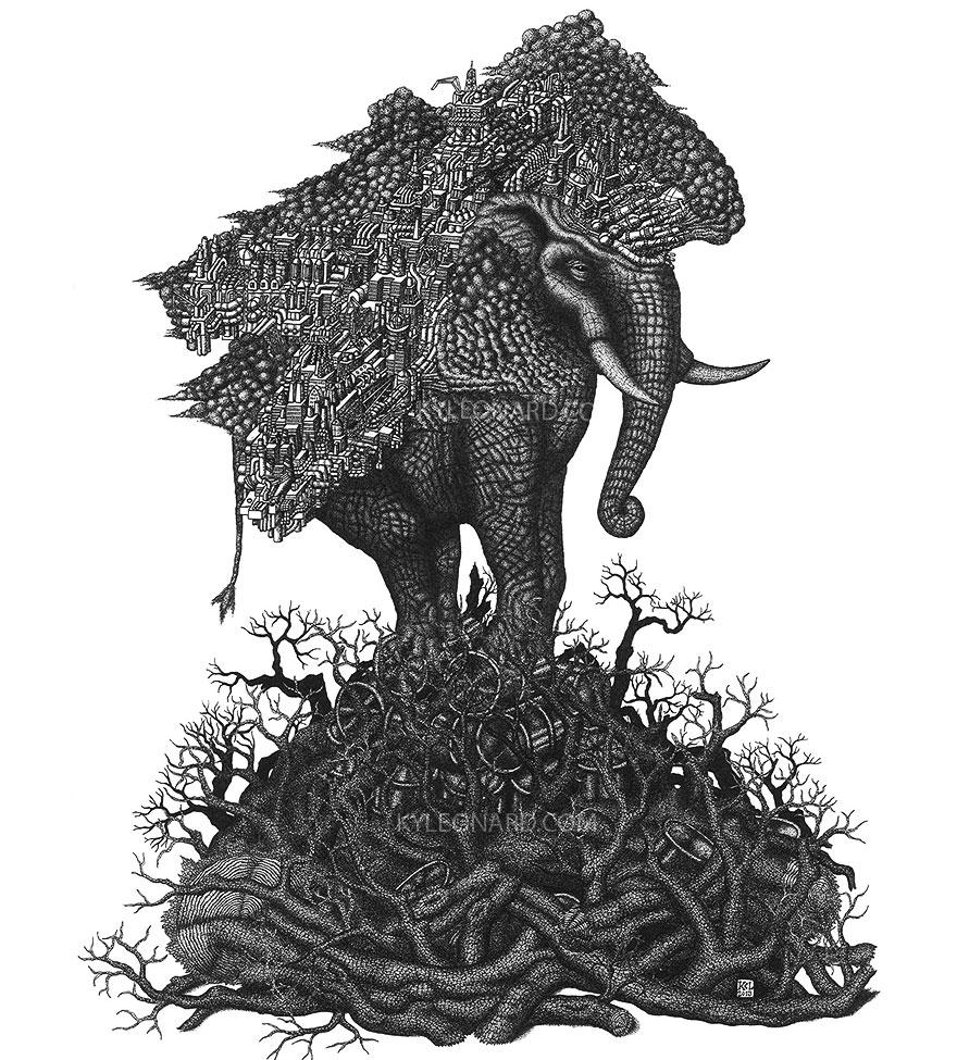 disegno-puntinismo-surreale-puntini-arte-kyle-leonard-08