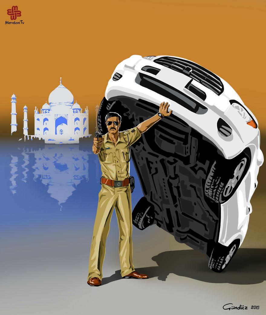 illustrazioni-satiriche-vignette-gunduz-agayev-india-polizia