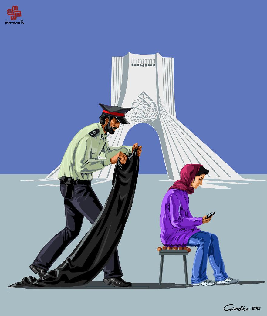 illustrazioni-satiriche-vignette-gunduz-agayev-iran-polizia