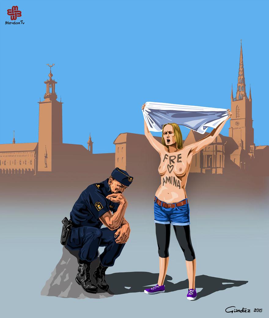 illustrazioni-satiriche-vignette-gunduz-agayev-isvec-polizia