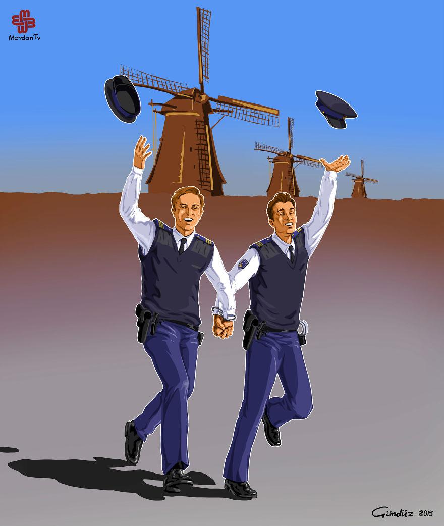 illustrazioni-satiriche-vignette-gunduz-agayev-paesi-bassi-polizia