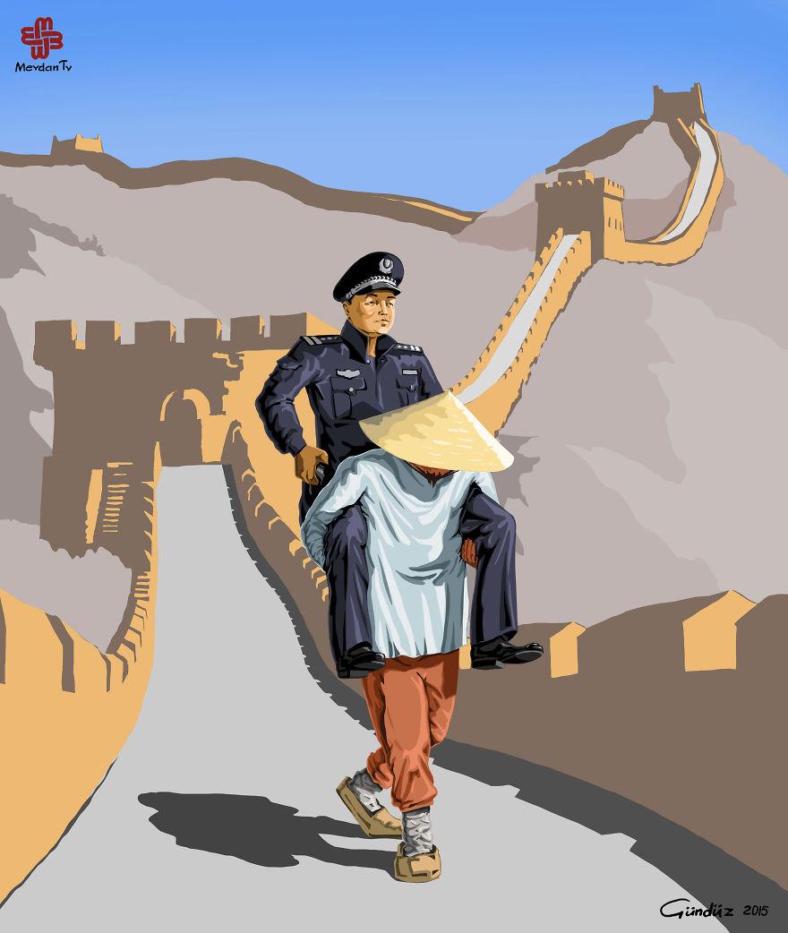illustrazioni-satiriche-vignette-gunduz-agayev-polizia-cina