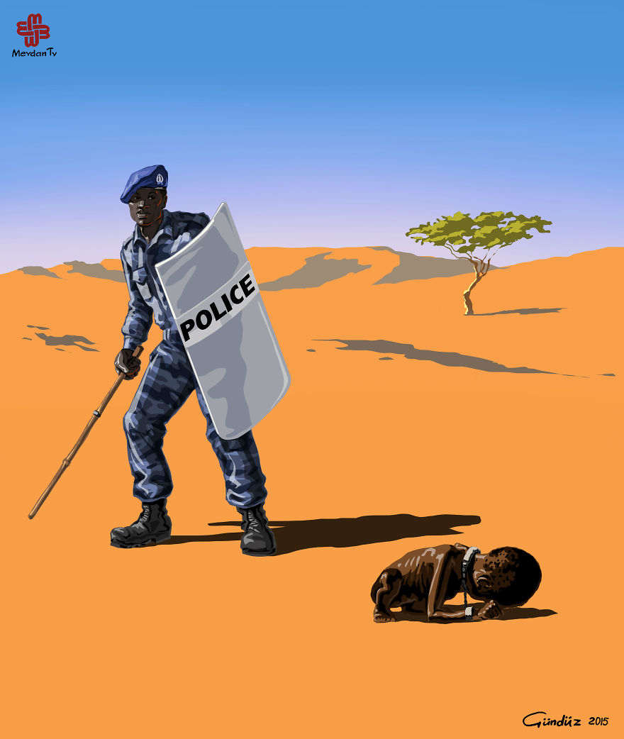 illustrazioni-satiriche-vignette-gunduz-agayev-sudan-polizia