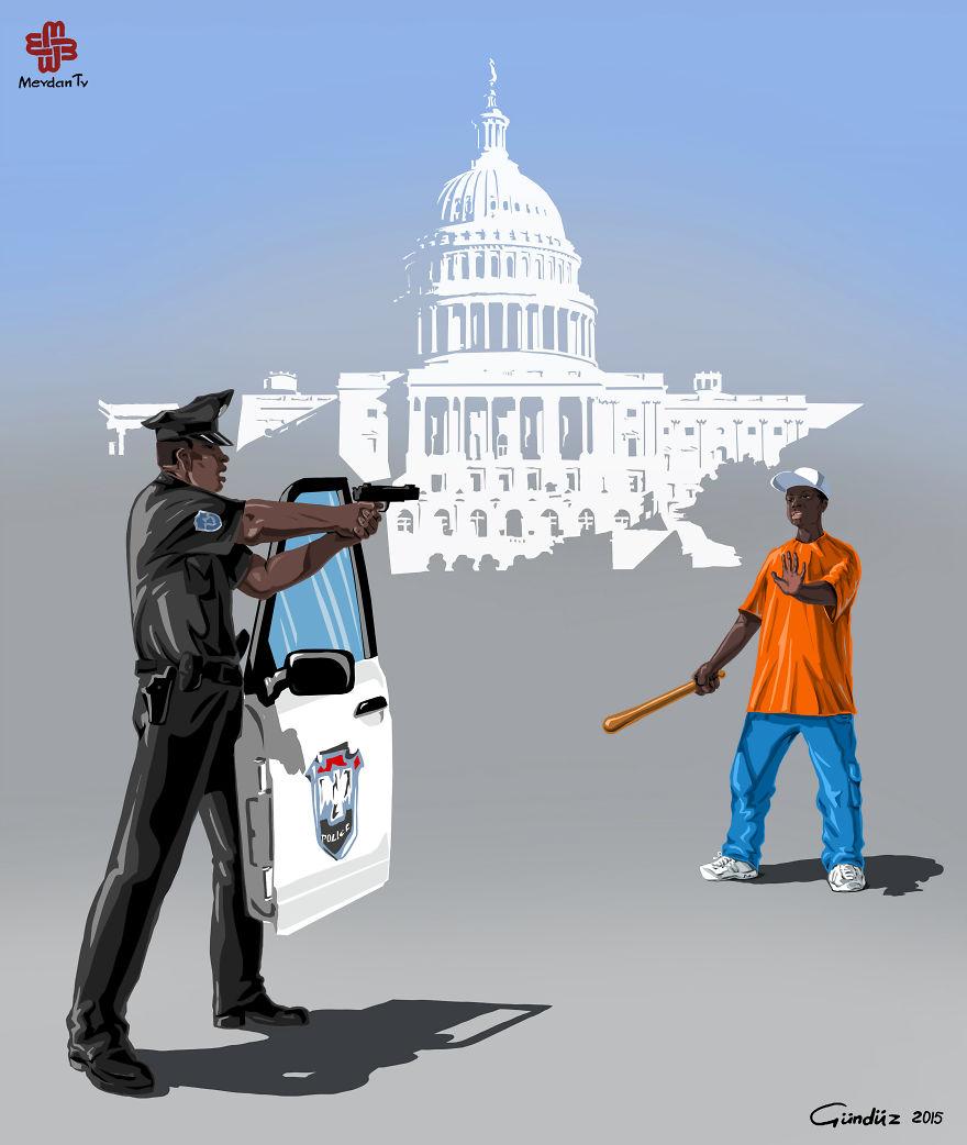 illustrazioni-satiriche-vignette-gunduz-agayev-usa-polizia