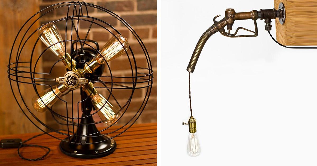 Lampade in stile industrial create con oggetti vintage da Dan Cordero - KEBLOG