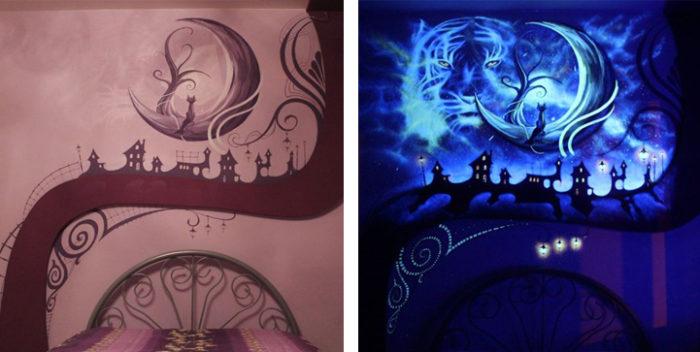 Un ipnotico murale in camera da letto che diventa fluorescente al buio ...
