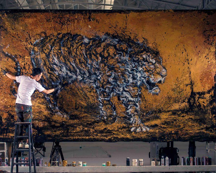 pittura-inchiostro-tecniche-miste-tigre-enorme-ruggente-hua-tunan-08