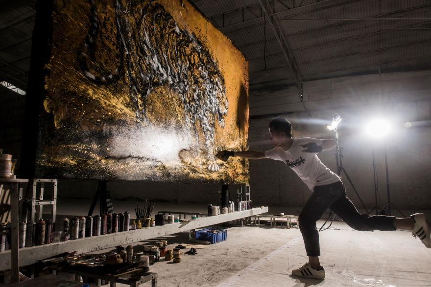 pittura-inchiostro-tecniche-miste-tigre-enorme-ruggente-hua-tunan-1