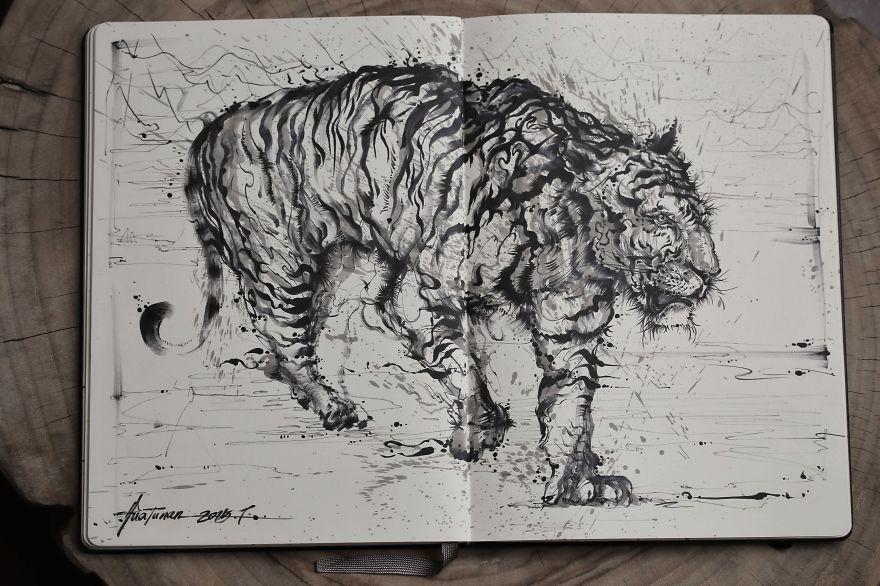 pittura-inchiostro-tecniche-miste-tigre-enorme-ruggente-hua-tunan-2