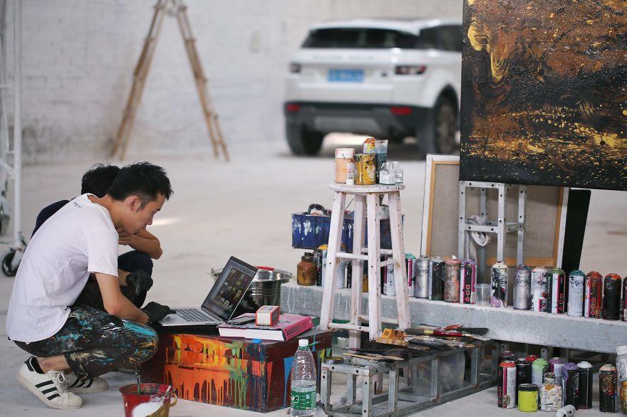 pittura-inchiostro-tecniche-miste-tigre-enorme-ruggente-hua-tunan-3