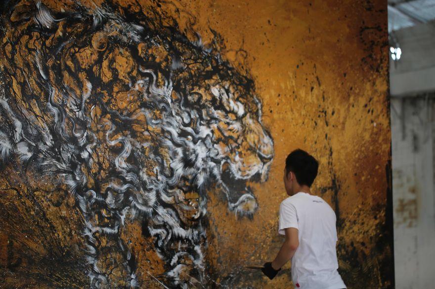 pittura-inchiostro-tecniche-miste-tigre-enorme-ruggente-hua-tunan-6