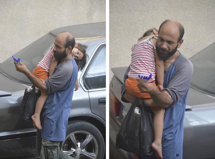 uomo-vende-penne-a-sfera-per-strada-figlia-in-braccio-dorme-abdul-haleem-al-kader-1