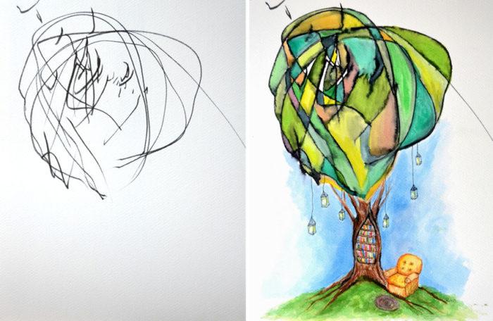 artista-trasforma-disegni-bambini-in-dipinti-2