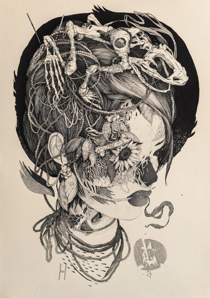 disegni-inchiostro-donne-puntinismo-benze-6