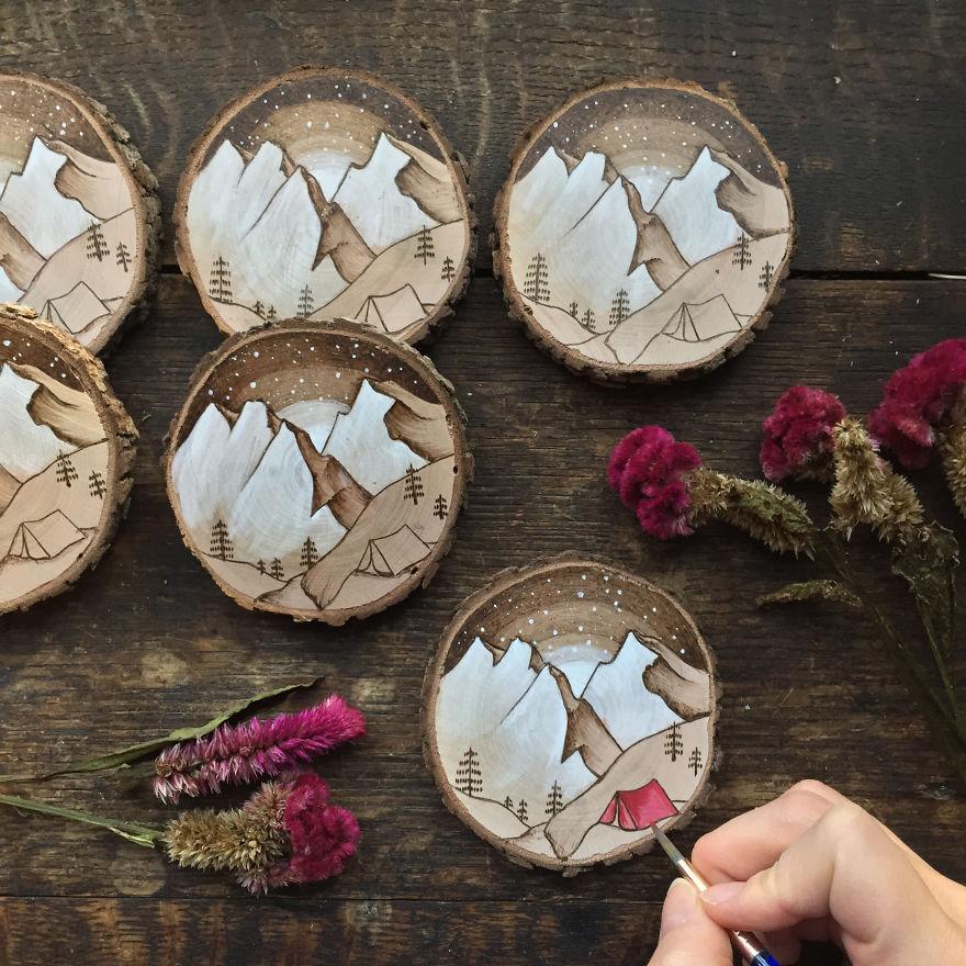 Dipinti in miniatura su legno di recupero di gracemere - Decorazioni in legno ...