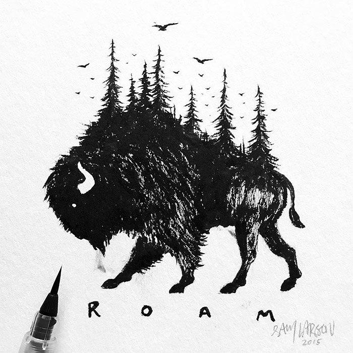 disegni-miniatura-inchiostro-animali-paesaggi-sam-larson-01