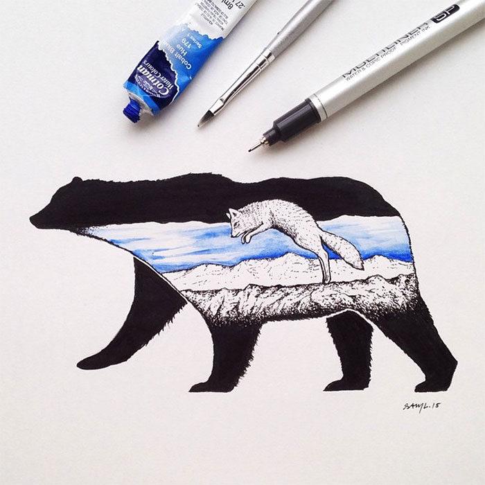 disegni-miniatura-inchiostro-animali-paesaggi-sam-larson-03