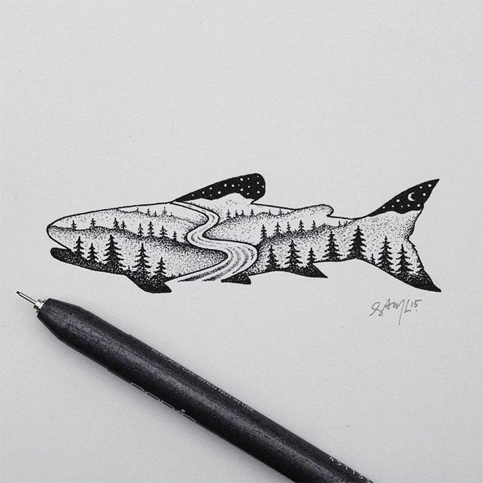 disegni-miniatura-inchiostro-animali-paesaggi-sam-larson-04