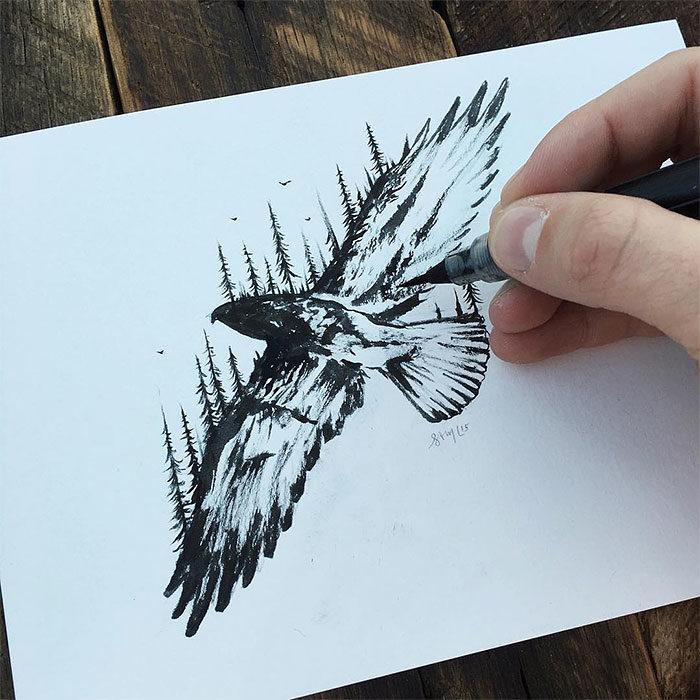 disegni-miniatura-inchiostro-animali-paesaggi-sam-larson-07