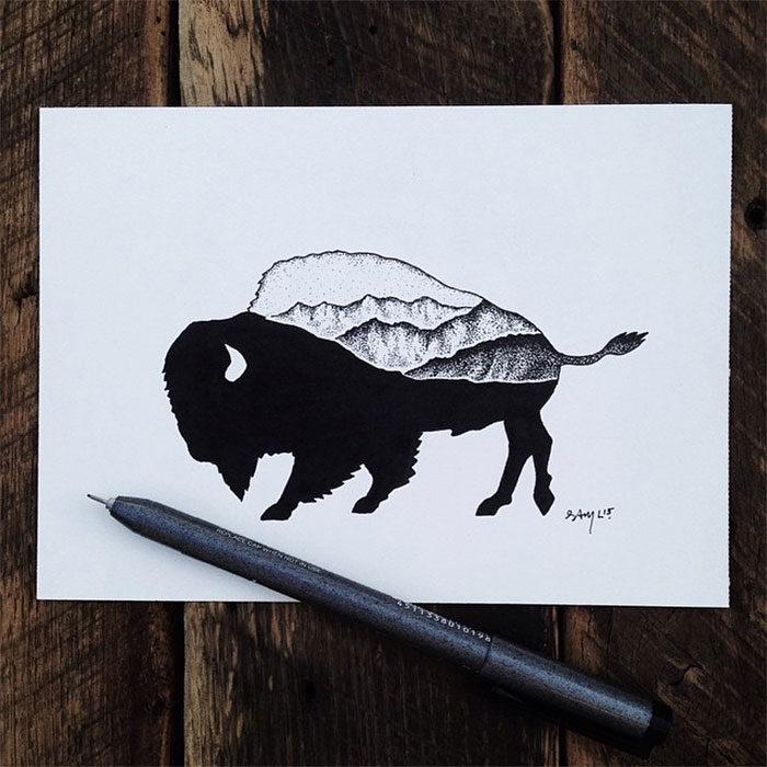 disegni-miniatura-inchiostro-animali-paesaggi-sam-larson-08