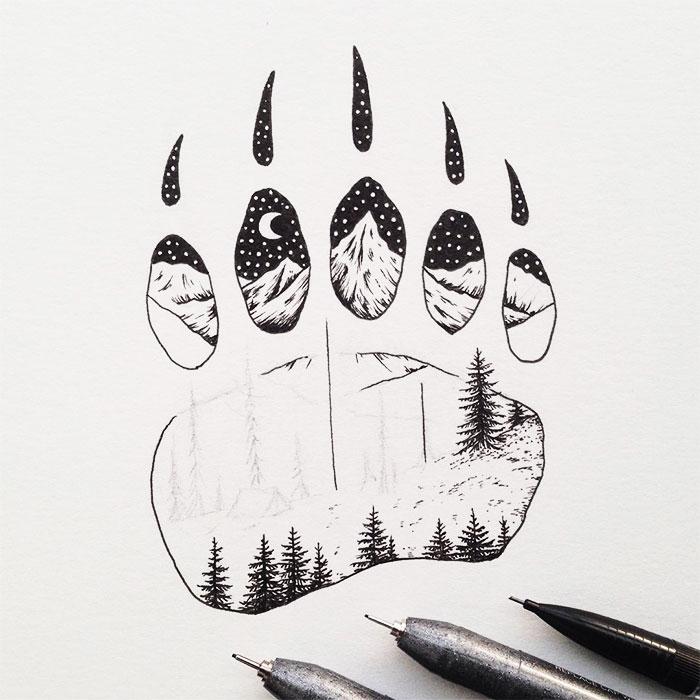 Disegni Miniatura Inchiostro Animali Paesaggi Sam Larson 10 Keblog