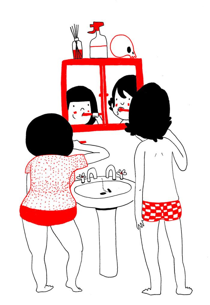 Tenere illustrazioni mostrano che l 39 amore nelle piccole - Coppia di amatori che scopano sul divano ...