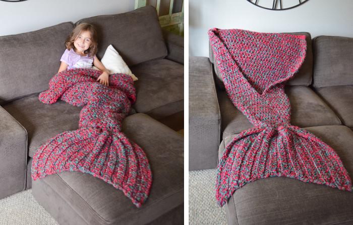 Coperte a forma di coda di sirena fatte a maglia keblog for Idee di design di coperta