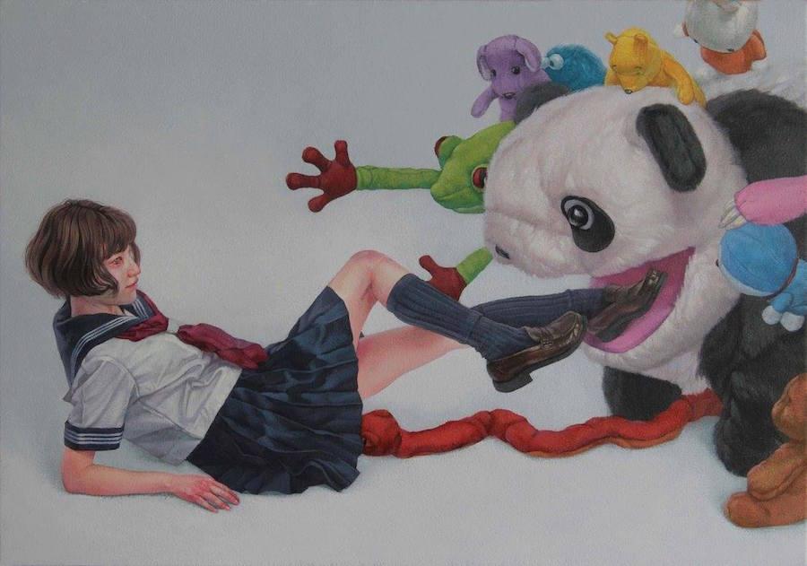 dipinti-perdita-innocenza-bambine-inquietanti-surreali-kazuhiro-hori-02