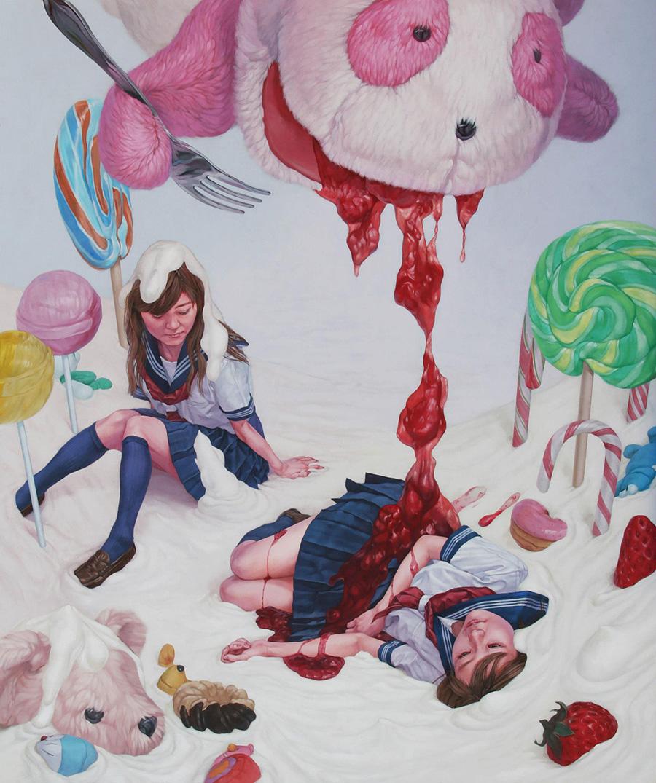 dipinti-perdita-innocenza-bambine-inquietanti-surreali-kazuhiro-hori-03