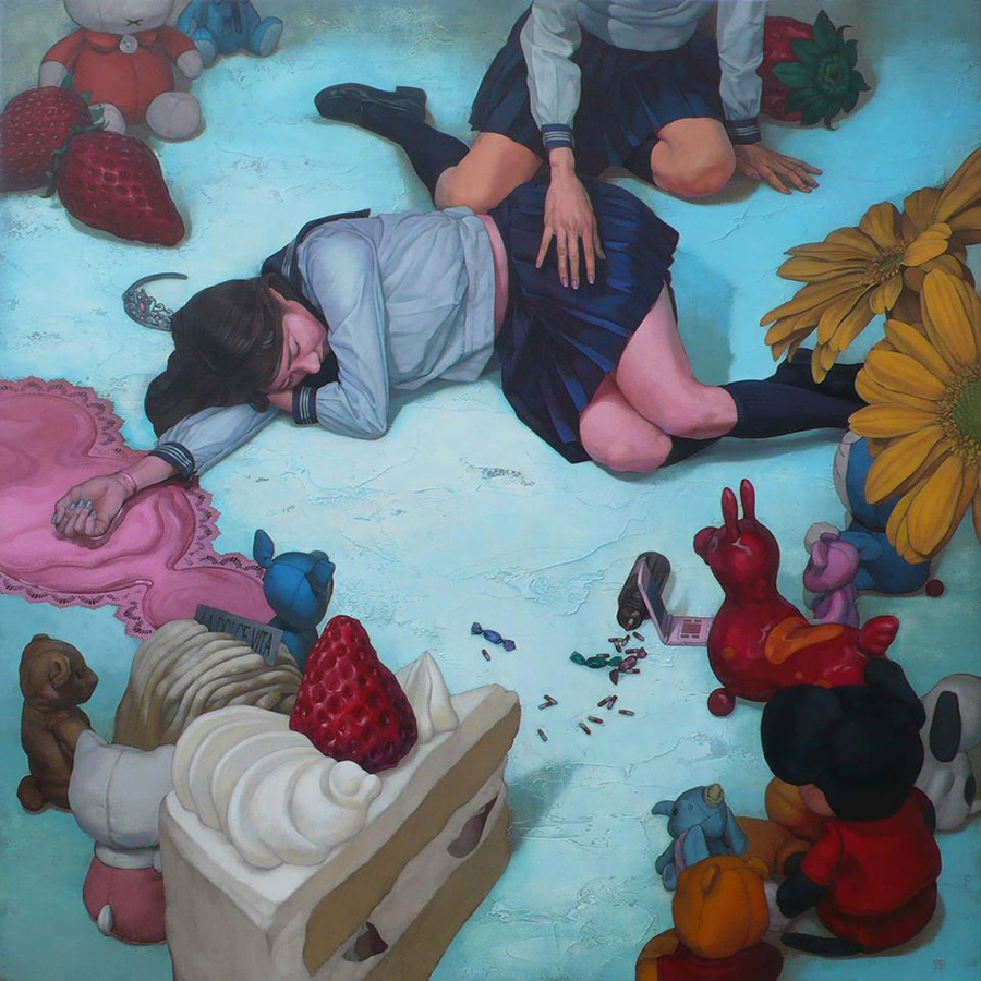 dipinti-perdita-innocenza-bambine-inquietanti-surreali-kazuhiro-hori-06