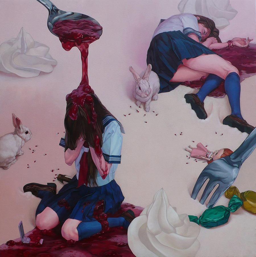 dipinti-perdita-innocenza-bambine-inquietanti-surreali-kazuhiro-hori-08
