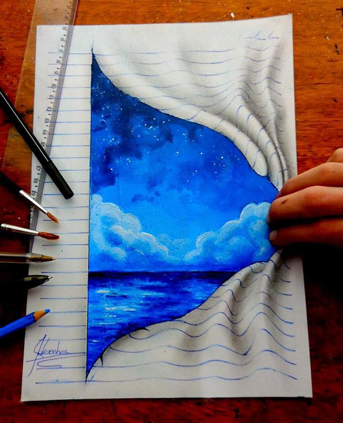 Artista sedicenne disegna fantastiche illusioni ottiche 3d for Disegnare una stanza in 3d
