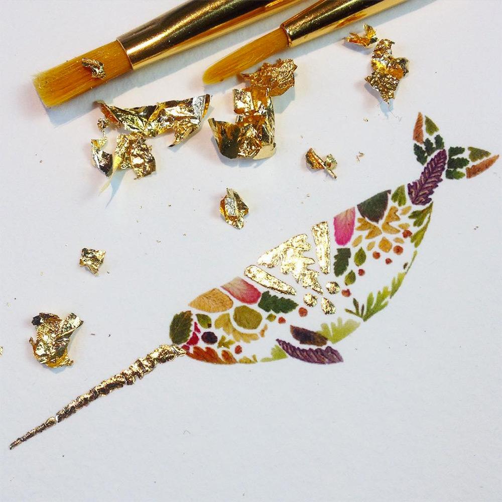 illustrazioni-animali-alghe-felci-foglia-oro-helen-ahpornsiri-04